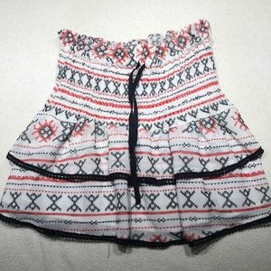 Beautiful red & black embroidering on white skirt